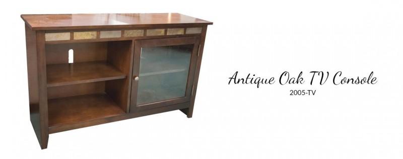 American Imports | Antique Oak TV Console w/ Slate Inserts