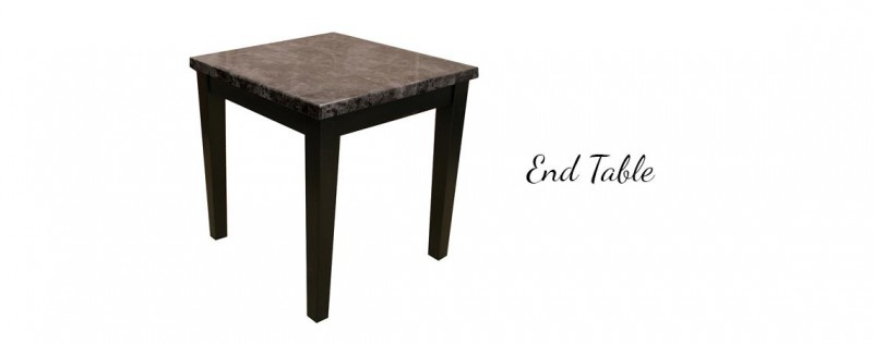 American Imports | Black Faux Marble End Table