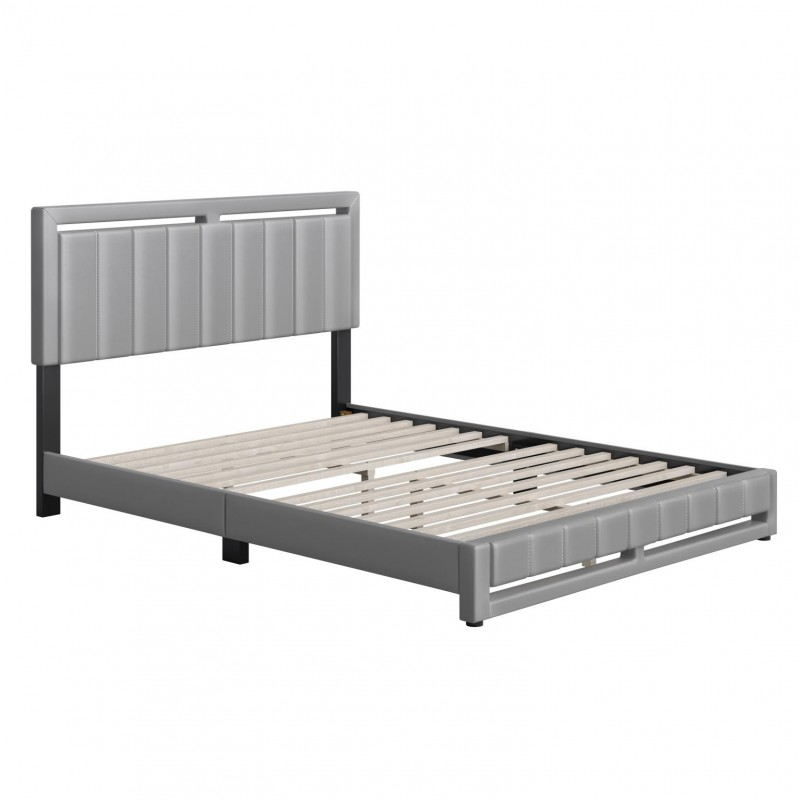 Boyd | Beaumont Grey  Faux Leather Queen Size 14 Slat Platform Bed
