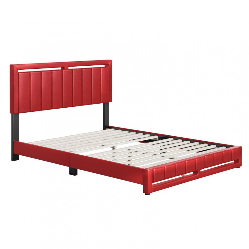 Boyd | Beaumont Red Faux Leather Queen Size 14 Slat Platform Bed