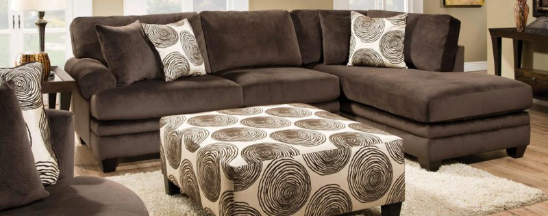 Albany   SECTIONAL SOFA & CHAISE GROOVY CHOCOLATE