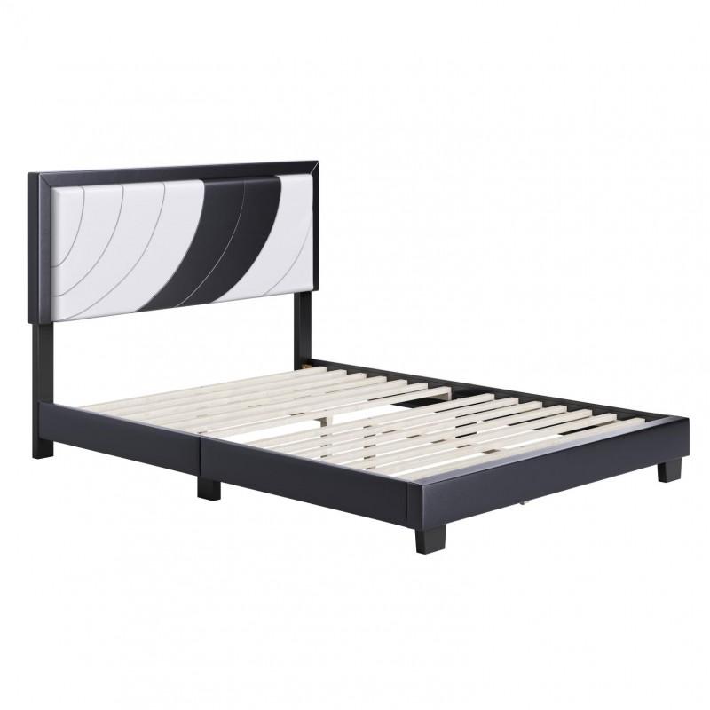 Boyd | Bree Black/White Faux Leather Full Size 14 Slat Platform Bed