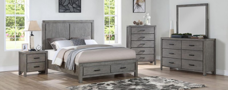 American Imports | COPELAND GRAY QUEEN STRG BED, DR, MR,CH