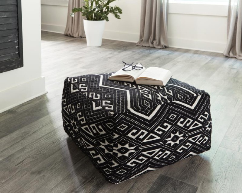 Coaster | Black and White Floor Pouf