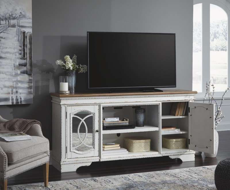 Signature Design   realyn Chipped white XL tv stand