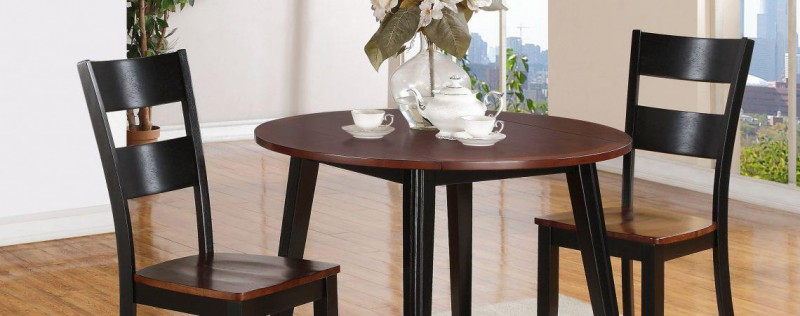 American Imports | DINING DROP LEAF TABLE & 2 CHRS BLACK & CHERRY
