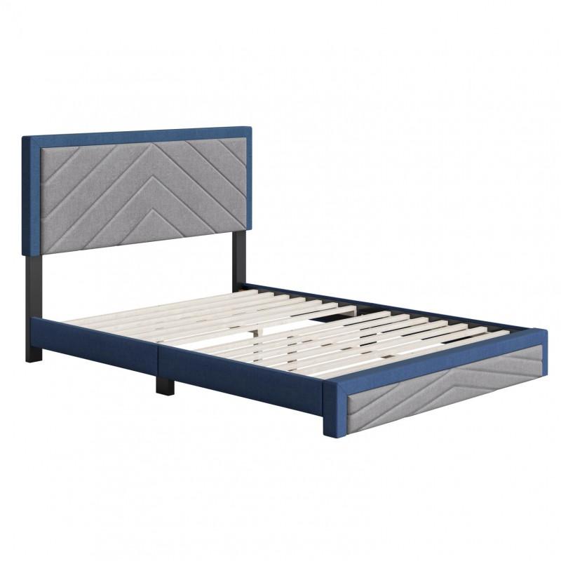 Boyd | Barcelona Blue/Grey Fabric Queen Size 14 Slat Platform Bed