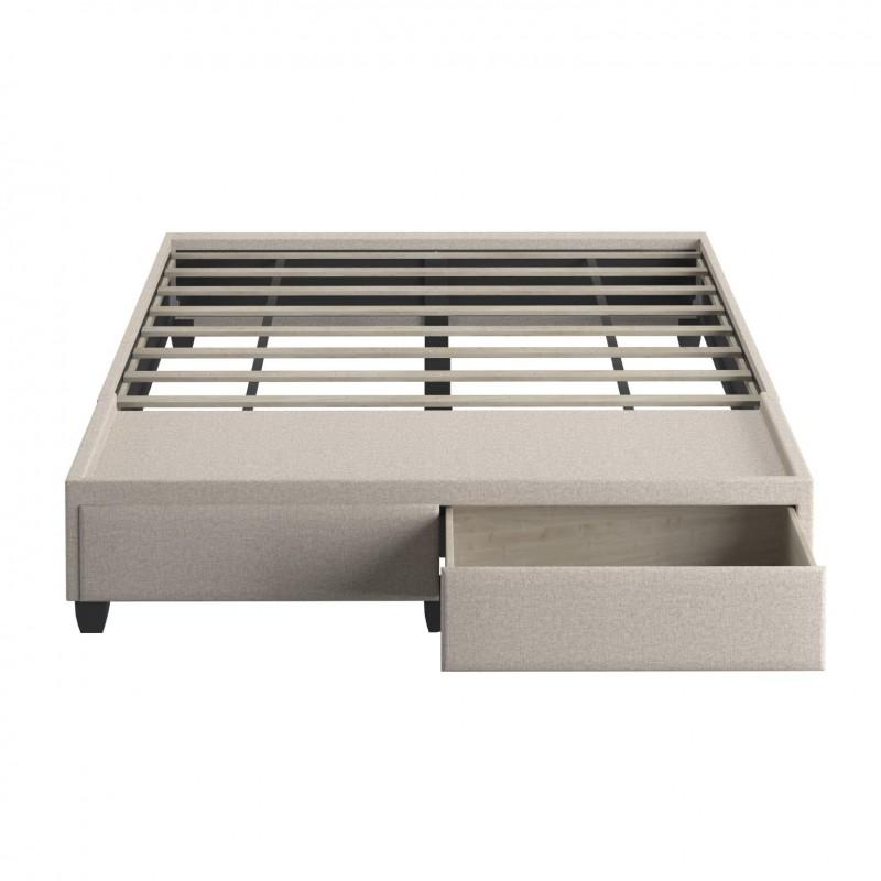 Boyd | Modena Egg Shell Fabric Queen Size Platform Drawer Bed / No Headboard