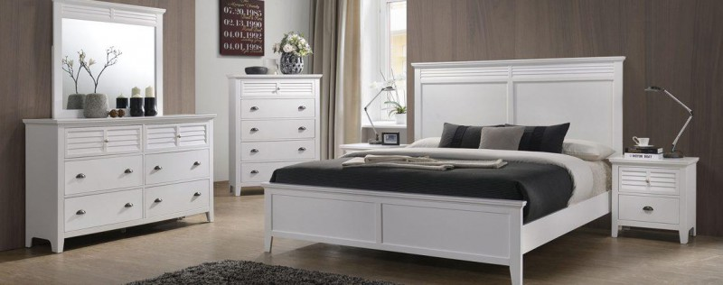 American Imports |  COTTAGE BAY WHITE QUEEN BED, DR, MR, CH