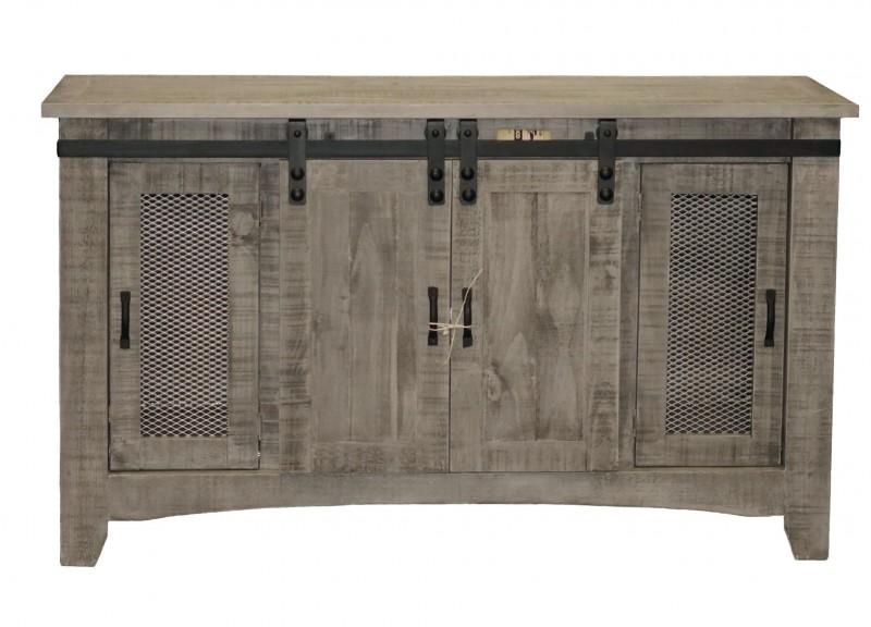 Million Dollar Rustic East-Countryside | Charcoal Grey Barn Door 60' Entertainment center