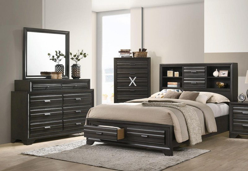 American Imports | ANTIQUE GREY QUEEN STORAGE BED, DR,MR