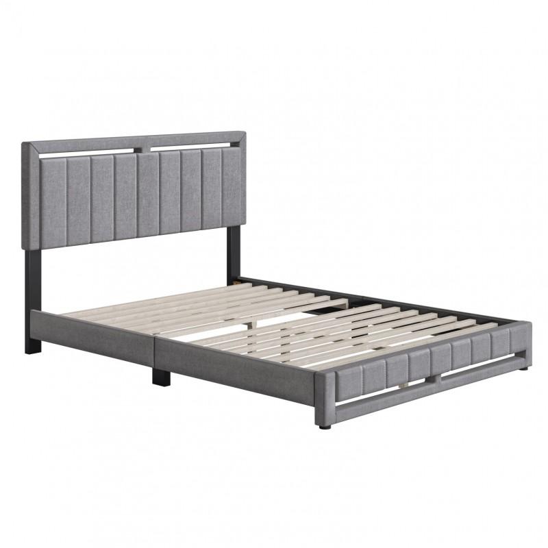 Boyd | Senata Grey Fabric Queen Size 14 Slat Platform Bed