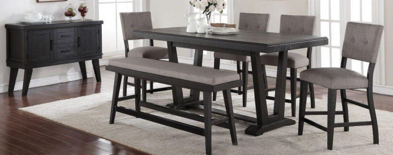 American Imports | PUB TABLE, 4 CHAIRS & BENCH ASHEN ECHO