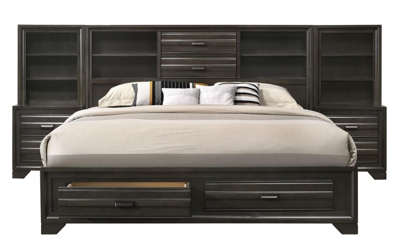 American Imports | ANTIQUE GREY KING STORAGE WALL BED