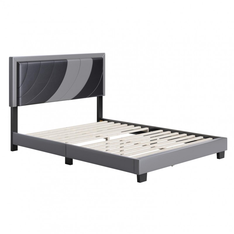 Boyd | Bree Black/Grey Faux Leather Queen Size 14 Slat Platform Bed