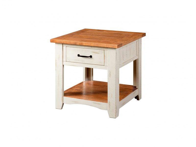 Martin Svensson Home | Rustic Antique White & Honey End Table
