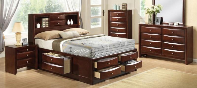 American Imports Emily Merlot Queen Storage Bedroom