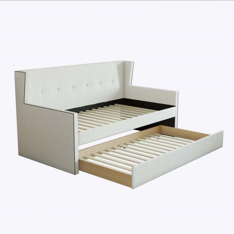 Boyd Twin Carlisle White Linen Day Bed w/ Trundle