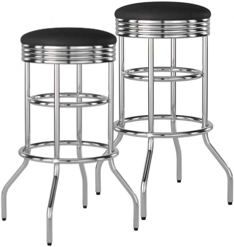 Miscellaneous | Trinity Chrome Swivel Barstools Black (2 stools)