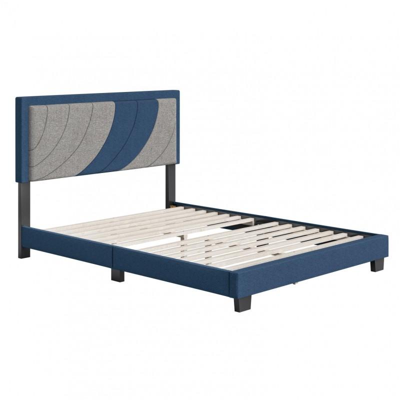 Boyd | Sail Away Blue/Grey Fabric Queen Size 14 Slat Fabric Platform Bed