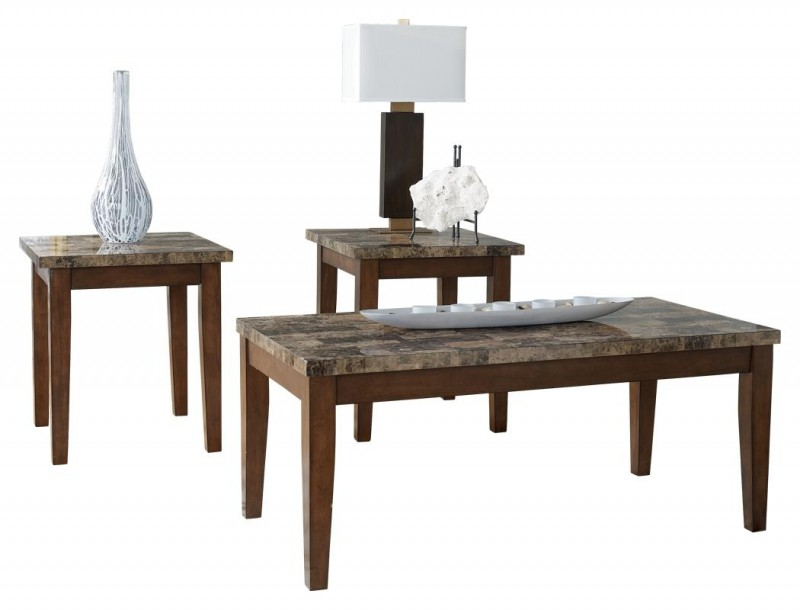 Signature Design | Theo Faux Marble 3 Piece Table Set