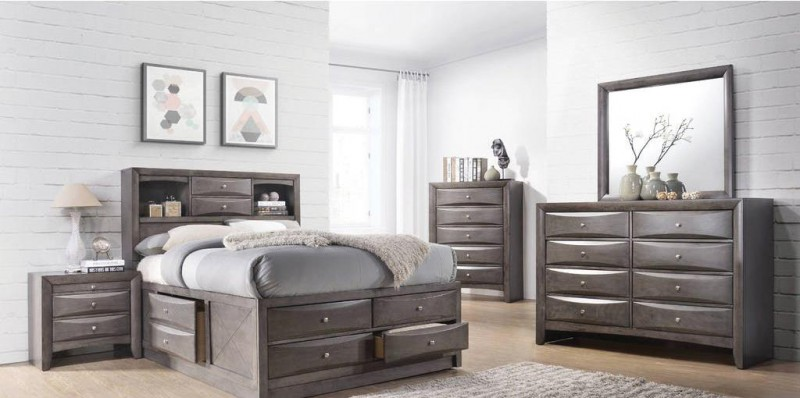 American Imports | EMILY GREY QUEEN STORAGE BED, DR,MR, CH