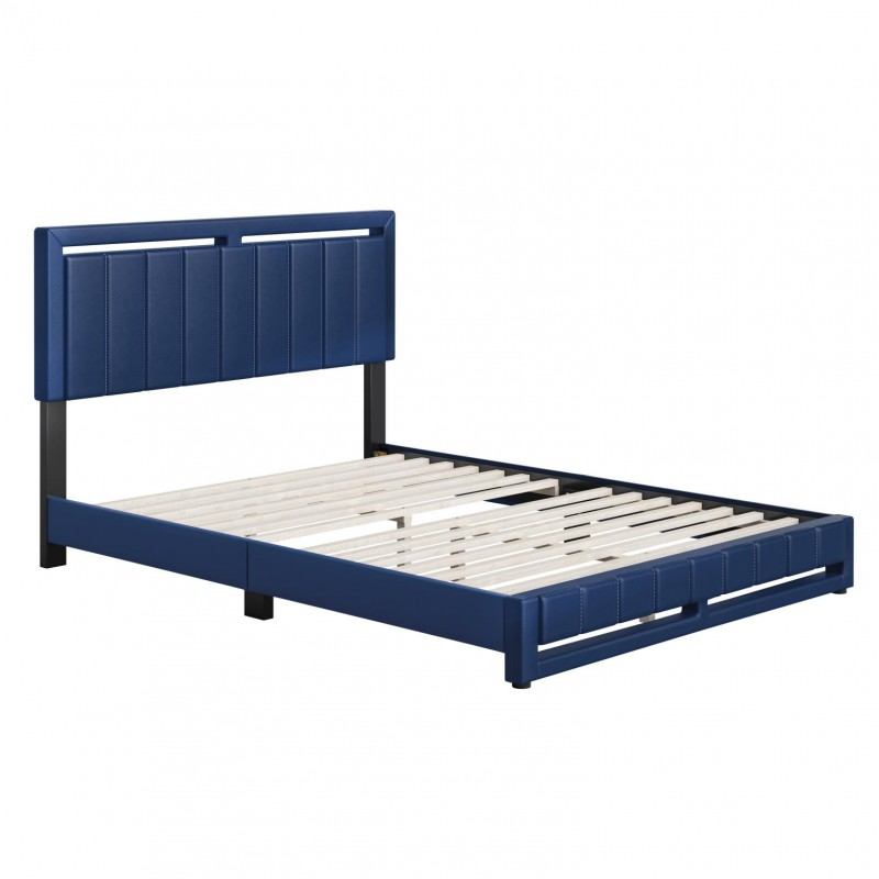 Boyd | Beaumont Blue Faux Leather King Size 14 Slat Platform Bed