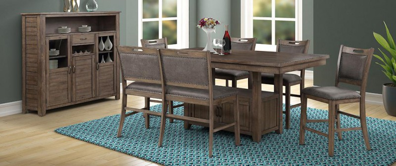 American Imports   PUB TABLE W/6 CHAIRS COLORADO GREY