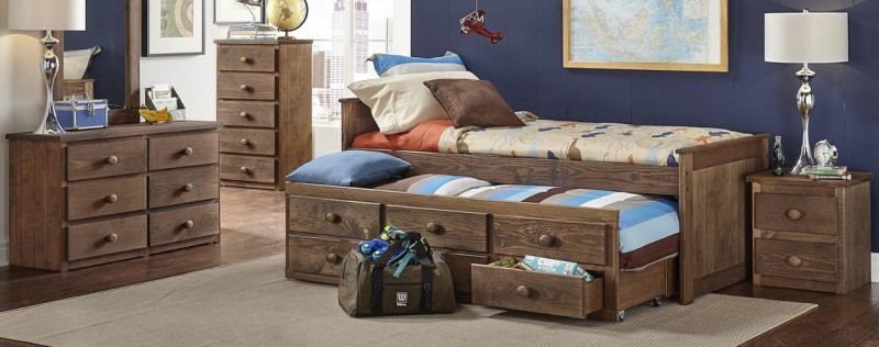 Simply Bunk Beds | TWIN PANEL CAPTAINS BED CHESTNUT