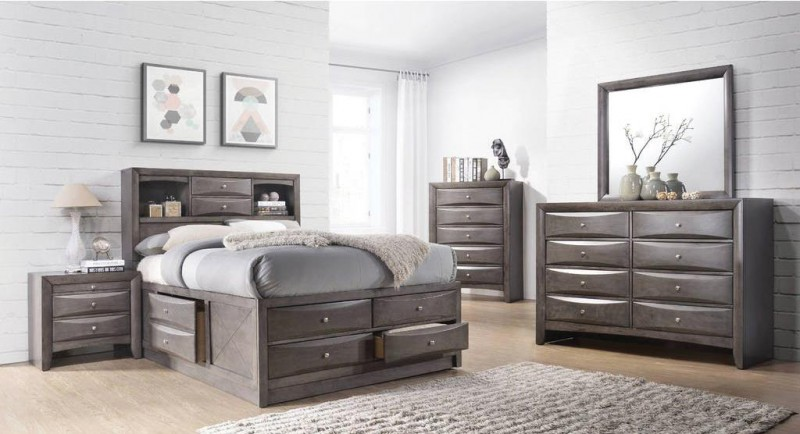 American Imports | EMILY GREY QUEEN STORAGE BED, DR,MR, NS