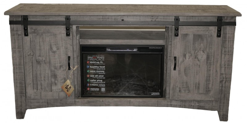Million Dollar Rustic | Charcoal Grey Barn door 70 fireplace