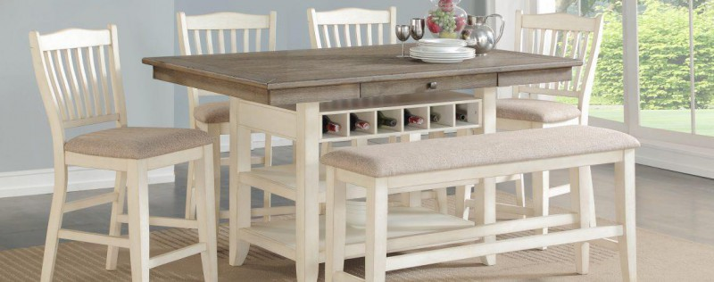 American Imports   PUB TABLE & 6 CHAIRS LAKEWOOD GRAY/WHITE