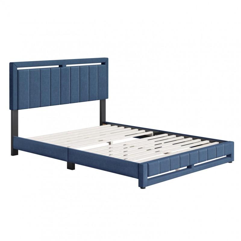 Boyd | Senata Blue Fabric Queen Size 14 Slat Platform Bed