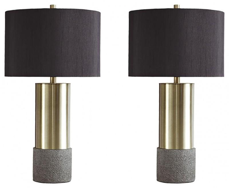 Signature Design | Jacek Faux Concrete and Brass Finish Tables