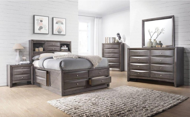American Imports | QUEEN STORAGE BED EMILY GREY