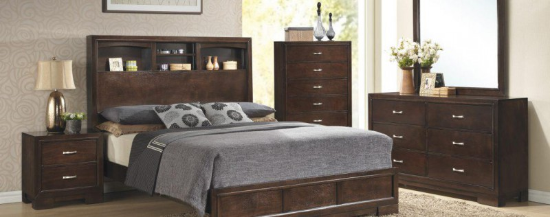 American Imports Walnut Queen Bed, DR/MR, Chest