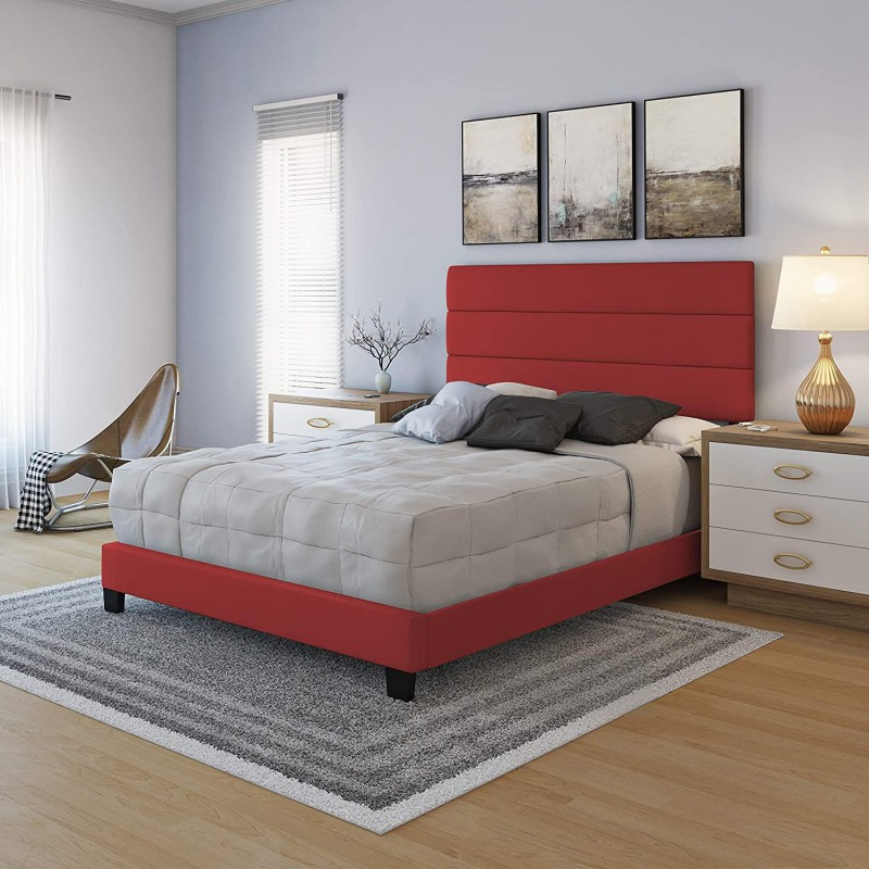 Boyd Specialty Sleep   Piedmont Faux Red Leather Bed Queen