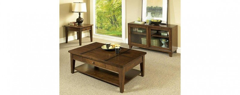 American Imports Walnut Inlay cocktail & 2 end tables