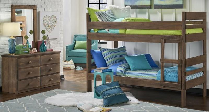Simply Bunk Beds   TWIN/TWIN HDBD/FTBD CHESTNUT