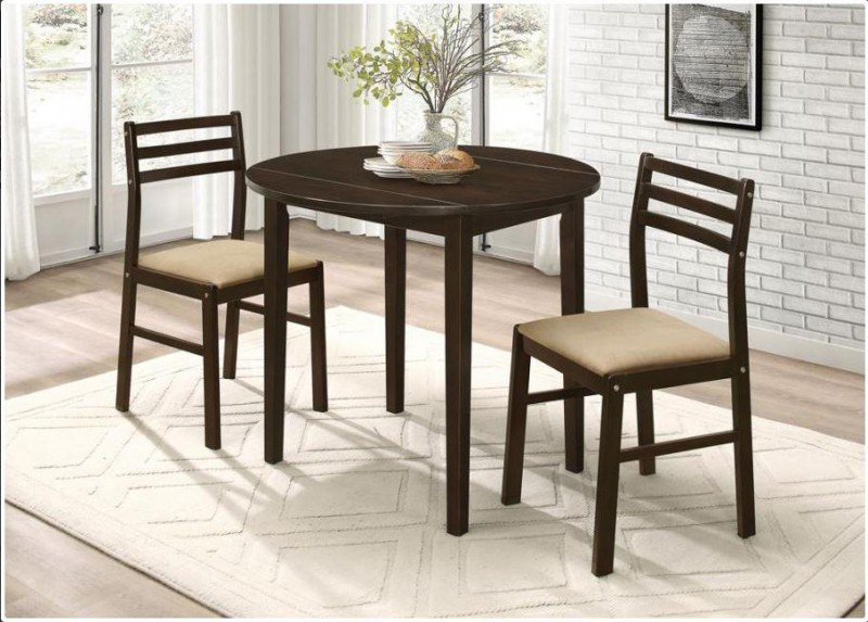 Coaster Dark Brown Table w/ 2 Chairs