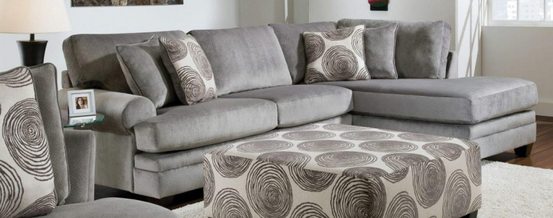 Albany   SECTIONAL SOFA & CHAISE GROOVY SMOKE