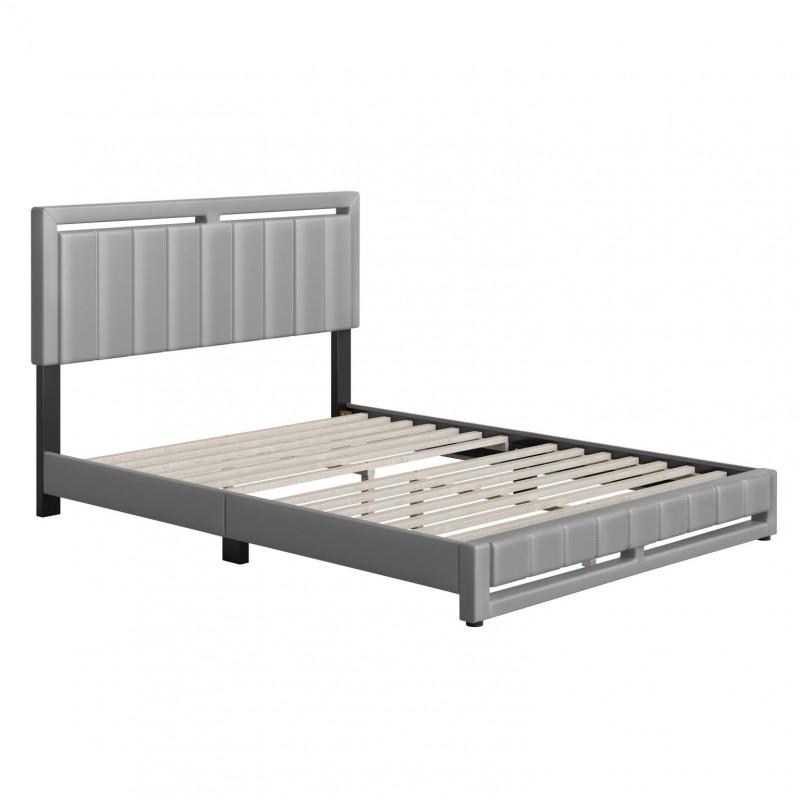 Boyd   Beaumont Grey Faux Leather King Size 14 Slat Platform Bed