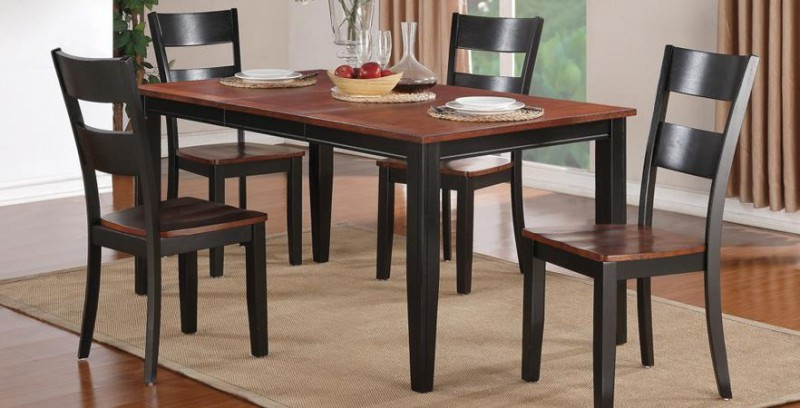 American Imports | DINING TABLE & 4 CHAIRS BLACK & CHERRY