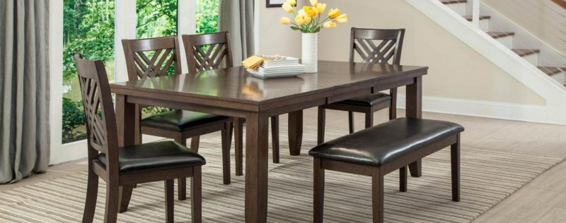 American Imports | DINING TABLE & 6 CHAIRS DARK BROWN