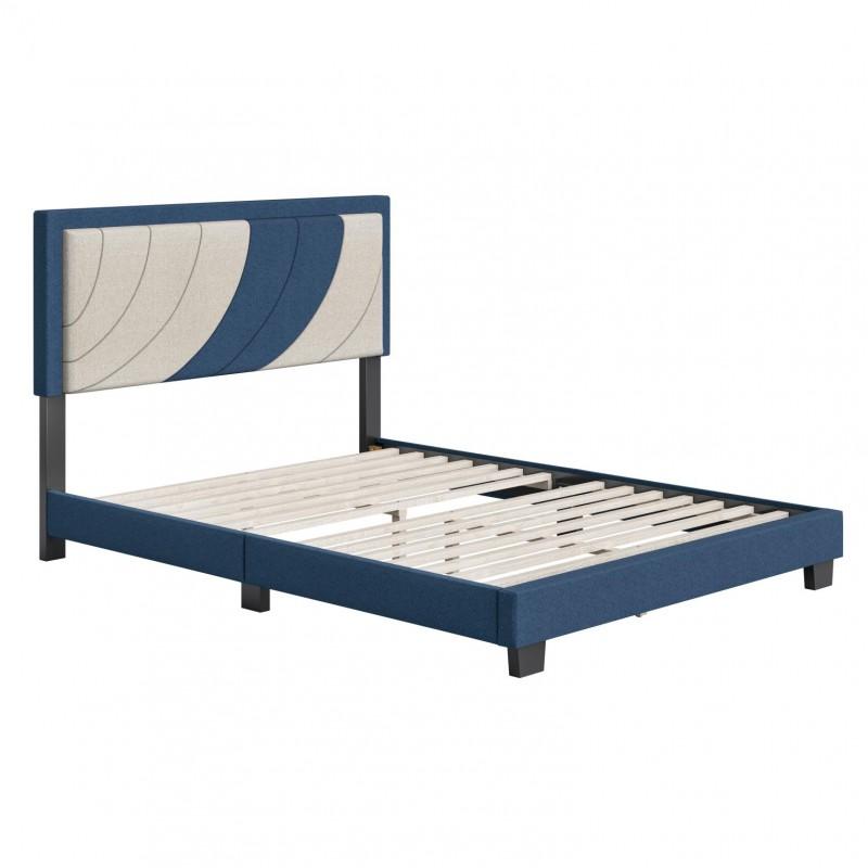 Boyd | Sail Away Blue/White Fabric Full Size 14 Slat Platform Bed