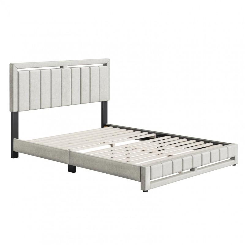 Boyd   Senata White Fabric Queen Size 14 Slat Platform Bed