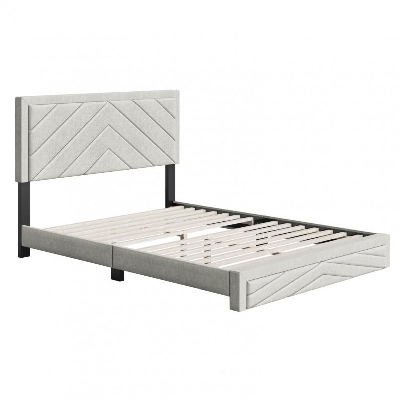 Boyd   Barcelona White Fabric Queen Size 14 Slat Platform Bed
