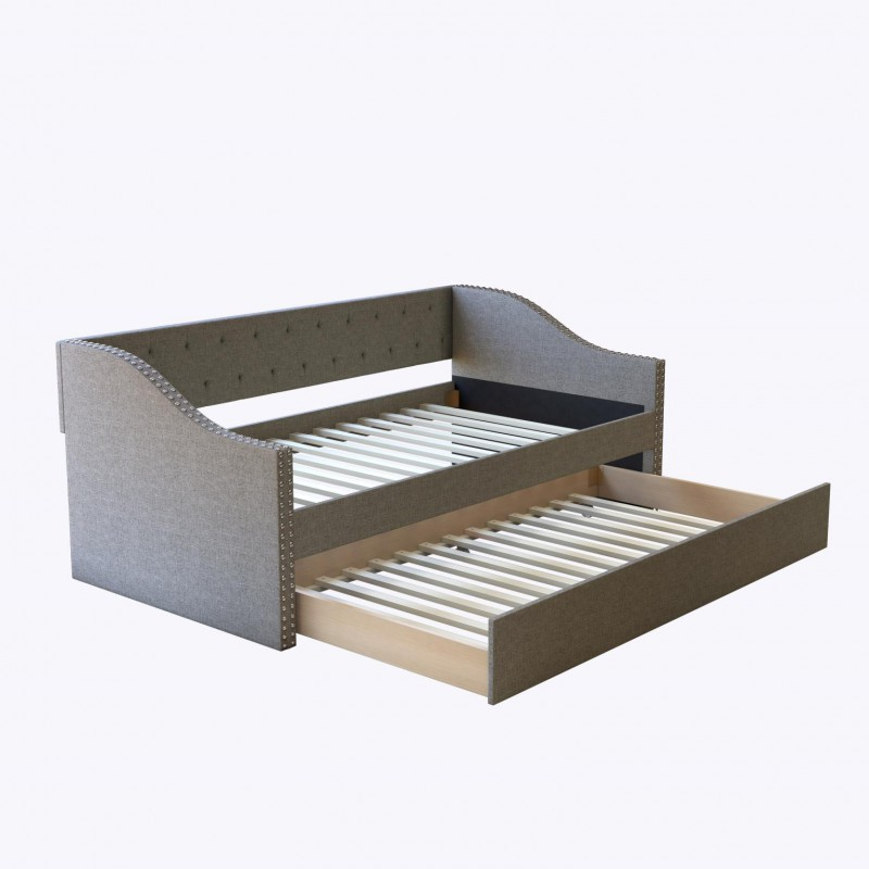 Boyd | Twin Manchester Grey Linen Day/Trundle Bed w/1 grey and 1 blue foam mattress