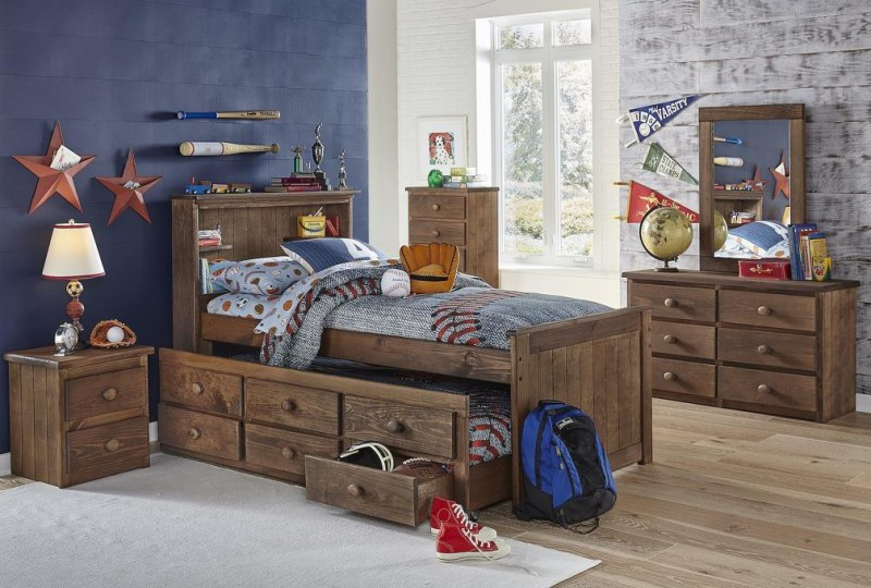 Simply Bunkbeds | Full Bookcase Bed with Twin Trundle - Chestnut