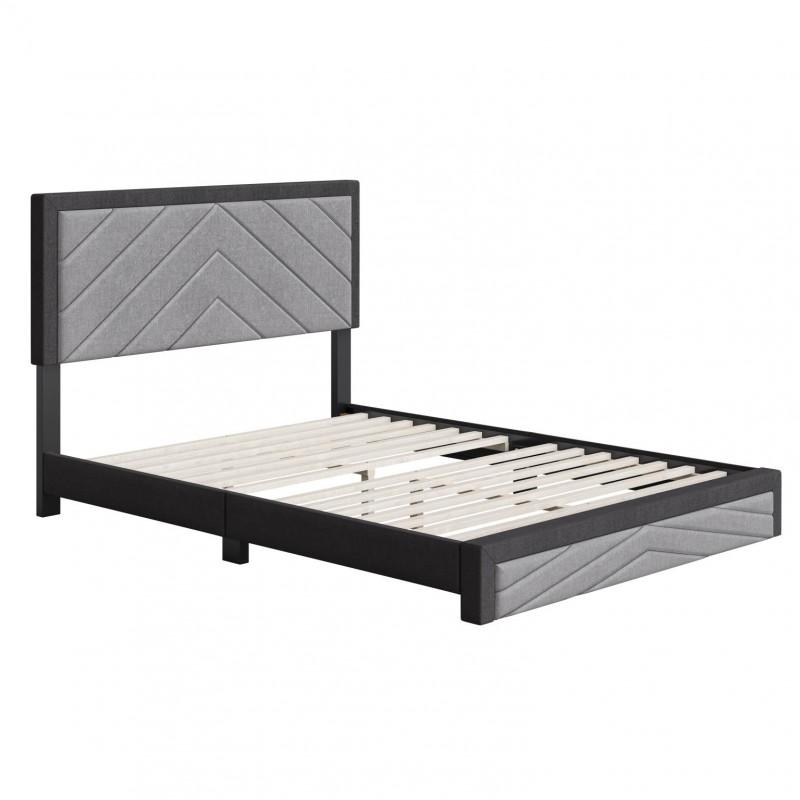 Boyd | Barcelona Black/Grey Fabric Queen Size 14 Slat Platform Bed